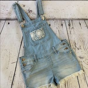 Justice Girls Denim Overalls w/ Lace Detailing